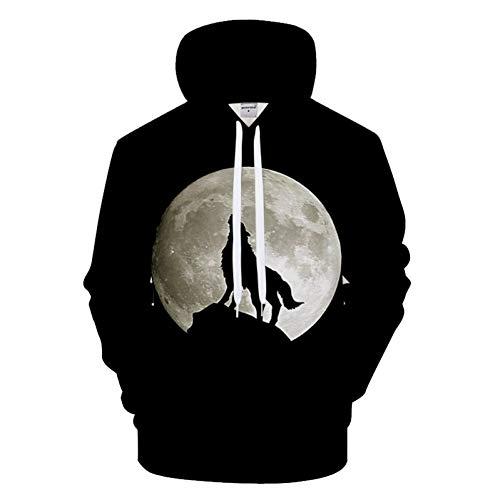 HNKPWY zwarte hoodie 3D hoodies heren wolf sweatshirt hoody streatwear trainingspak mantel pullover maan