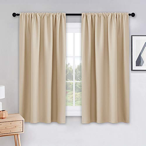 PONY DANCE Beige Kitchen Curtains - Window Treatments Rod Pocket Energy Efficient Blackout Curtain Panels Room Darkening Home Decor for Kids' Room, 42-inch Wide by 45 Long, Biscotti Beige, 2 PCs