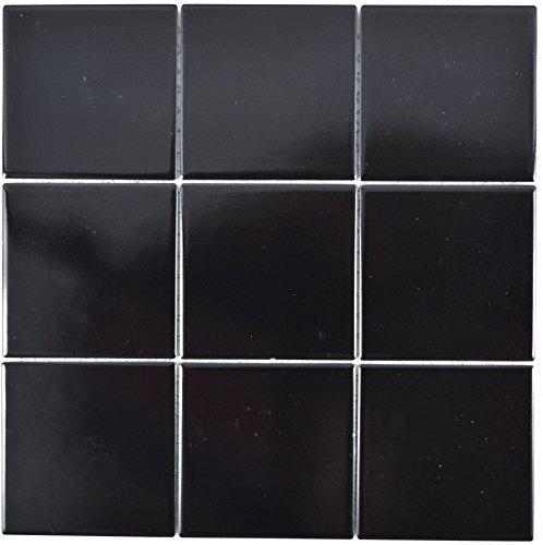 Mosaico de cerámica negro mate para pared, baño, ducha, cocina, espejo, revestimiento de bañera, 1 alfombrilla