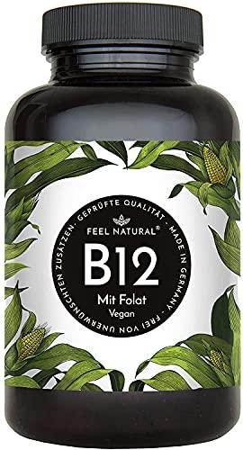 Vitamin B12 - 180 Tabletten im Jahresvorrat. Mit bioaktivem Methyl- und Adenosylcobalamin + Depotform Hydroxocobalamin + Quatrefolic® 5-MTHF. Laborgeprüft, vegan, in Deutschland produziert