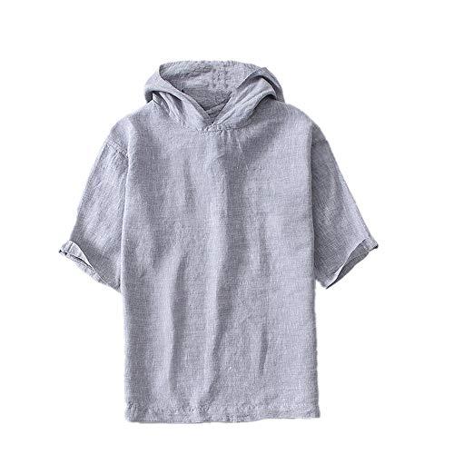 Leinenoberteil Casual Mode Oversized Hoodie Pullover für Herren Slip Schulter Gr. XL, hellgrau