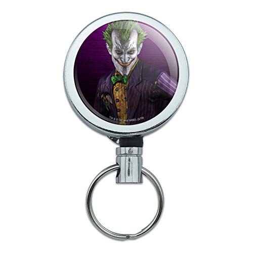 Batman Arkham Asylum Video Game Joker Heavy Duty Metal Retractable Reel ID Badge Key Card Tag Holder with Belt Clip