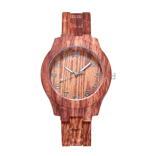 Men's Wooden Wood Watch Analog Quartz Day Date Bamboo Movement Watches with Case Luxury (C)