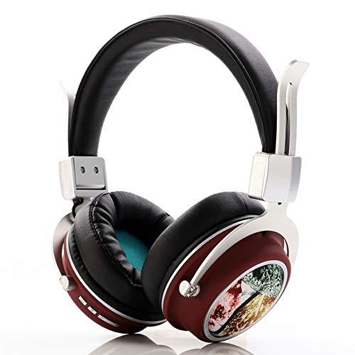 Wsaman Auriculares Estéreo, Auriculares Cómodos Plegables, con Bass Surround/Reducción de Ruido/Control de Volumen para PC/Teléfonos Celulares/TV,Rojo