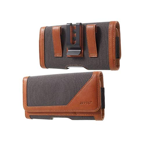 DFV mobile - Case Metal Belt Clip Horizontal Design Textile and Leather para iPhone 6 Plus [5.5] - Brown