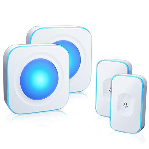 Wireless Doorbell Waterproof Door Bell with 2 Buttons with Different Tones Operating at 1000 feet 36 Melodies 4 Volume levels Flash Light 2 Receivers 2 Buttons White JSIEEM