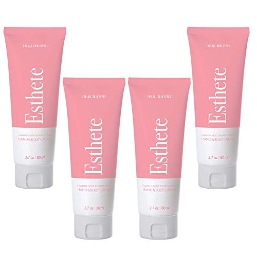 Esthete Water Gel Hand Cream, Body Cream, and K Beauty Facial Moisturizer for Women - Skin Care Gel Cream for the Body, Hands, and Face with Hyaluronic Acid, TRAVEL SIZE (Pack of 4-10.8 oz. Total)