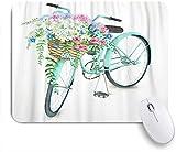 Benutzerdefiniertes Büro Mauspad,Blaues Vintage Aquarell Türkis Fahrrad mit schönen Blumenkorb Hand Sommer Bike Aster Holland,Anti-slip Rubber Base Gaming Mouse Pad Mat