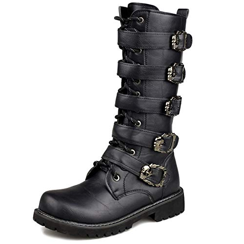 MERRYHE Cinturón De Hebilla para Hombre Martin Boot Side Zip Botas De Combate De La Motocicleta Punk Rock Calf Boot Horse Riding Movie Zapatos De Vestir De Lujo,Black-46