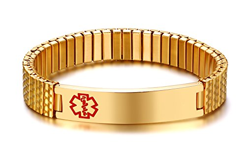 VNOX Maßgeschneiderte Edelstahl ID Stretch Armband Medical Alert Armband Armreif für Männer Frauen Gold,Kostenlose Gravur