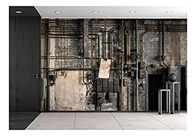 wall26 - Industrial Fuse Boxes Against Damaged Wall - Removable Wall Mural | Self-Adhesive Large Wallpaper - 100x144 inches