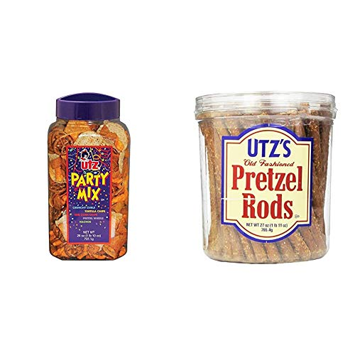 Utz Party Mix - 26 Ounce Barrel - Tasty Snack Mix Includes Corn Tortillas, Nacho Tortillas, BBQ Corn Chips and Cheese Curls & Old Fashioned Pretzel Rods – 27 oz. Barrel – Thick, Crunchy Pretzel Rod