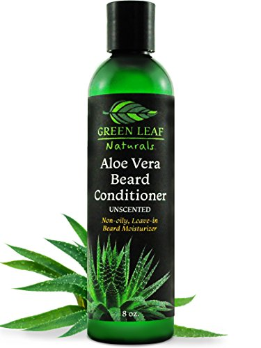 Green Leaf Naturals Aloe Vera Beard Conditioner and Softener for Men - Leave-In Moisturizer, No Oil, No Mess - Unscented - 8 oz