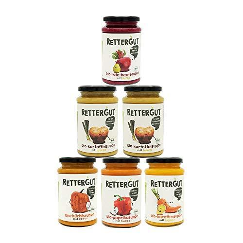 RETTERGUT 6-er Set Retterbox bio suppen (6x375ml) I Suppen im Glas mit gerettetem Gemüse I natürliche Zutaten I vegan I Bio-Qualität