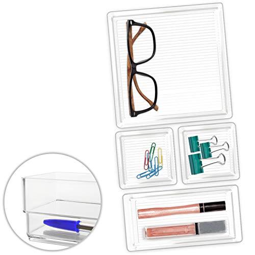Hausfelder ORDNUNGSLIEBE Schubladen Organizer (4-teiliges Set) Ordnungssystem zur Aufbewahrung für Küche Büro Schminktisch Kosmetik, variabel und transparent aus Kunststoff