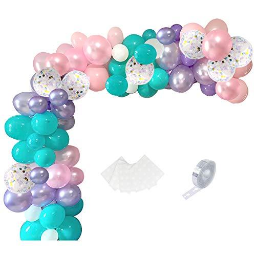 SKYIOL Globos de arco de unicornio, color rosa, morado, blanco, azul, paquete...