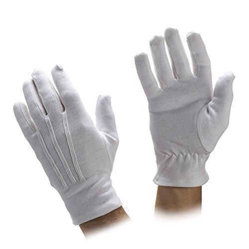 White Cotton Gloves, Black Cotton Gloves Sold by Pair (XXXL, White)