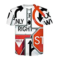 メンズデザイナーメンズ3Dプリントロードサインラウンドネックカジュアル半袖トップシャツブラウスユニセックスサマースポーツビーチTシャツL用Tシャツ