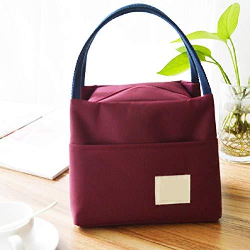 nohbi Auslaufsicheres Lunch Tasche,wasserdichte und ölbeständige Lunchbox-Tasche mit großem Fassungsvermögen, Handtasche mit Reisbeutel, weinrot,für Erwachsene Lunchpaket für Kinder Damen Herren