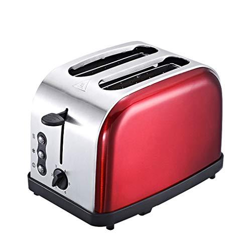 KM- Grille-pain R 2 tranches de réchaud en acier inoxydable brossé pour dégivrer le petit déjeuner Réchauffer à nouveau le bouton d'annulation Plateau ramasse-miettes amovible (Couleur : Red)