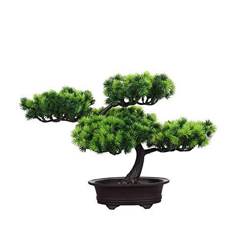 künstliche Bonsai Künstliche Bonsai-Baum Pflanzen Dekoration AMITD Kunstpflanze Pflanze,Japanischer Feng Shui Pinien,Feng Shui Lucky Deko,Kunstbaum,Höhe ca. 20 cm,GrüN, 4