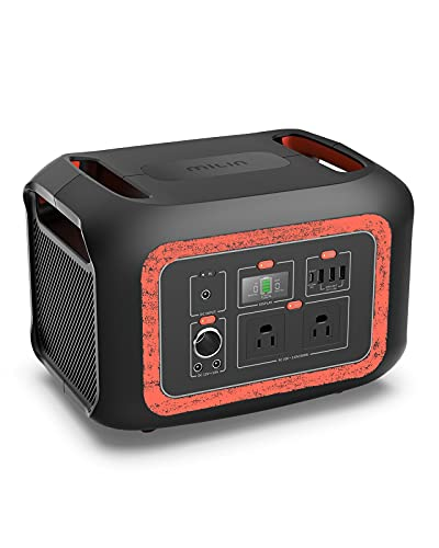 Portable Power Station 622Wh, 600W Solar Power Generator with 2 110V Pure Sine Wave AC Outlets and PD 100W Quick Charge, Backup Lithium Battery for Outdoor Use Camping RV Travel Emergency (Black/Red)