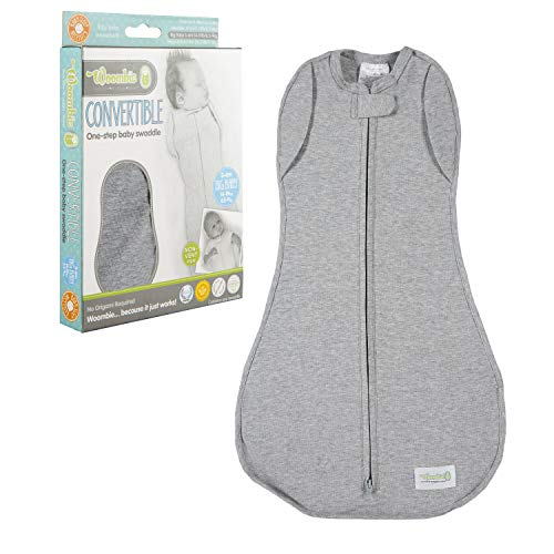 Woombie Convertible Baby Swaddling Blanket I Swaddle Converts to Arms-Free Wearable Blanket for Babies Up to 6 Months, Grey, 14-19 lbs