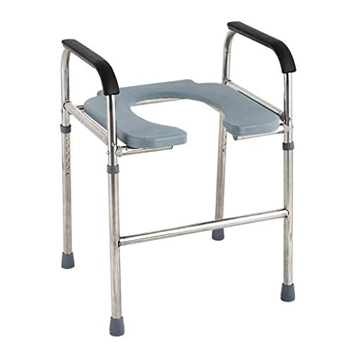 Commode Chair, Deluxe Bathroom Stainless Steel Medical 3 in 1 Commode Over Toilet Seat with Arms -  OHHG