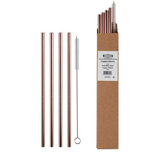 ALANDIA Paille métal réutilisable | Cuivre | Idéal pour Gin Tonic | Set avec 4 pailles et Brosse de Nettoyage