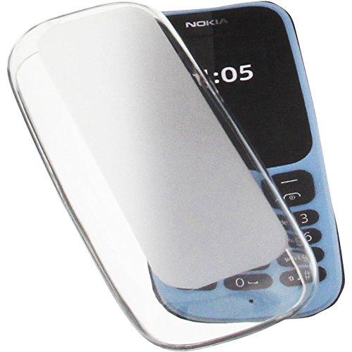 Tasche für Nokia 105 (2017) Gummi TPU Schutz Handytasche transparent weiß