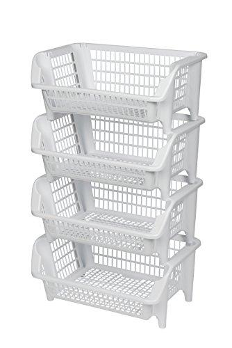 Regal bestehend aus vier stapelbaren Körben aus Kunststoff in Weiß. Stapel- und nestbar. Beliebig erweiterbar. Maße BxTxH 54,5 x 38 x 92 cm!