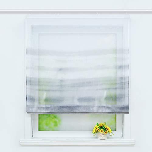 Joyswahl transparentes Raffrollo mit Farbverlauf Druck Raffgardine mit Klettschiene »Alia« Schals Fenster Gardine BxH 120x140cm Grau 1 Stück