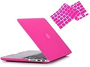 RUBAN Plastic Hard Case and Keyboard Cover for MacBook Pro 13 inch with Retina (No USB-C)(A1502/A1425), Released 2015/2014/2013/2012 (No CD-ROM) - Hot Pink
