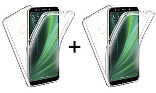 """TBOC 2X Funda para Xiaomi Mi A2 [5.99""""] - [Pack: Dos Unidades] Carcasa [Transparente] Completa [Silicona TPU] Doble Cara [360 Grados] Protección Integral Total Delantera Trasera Lateral Móvil"""