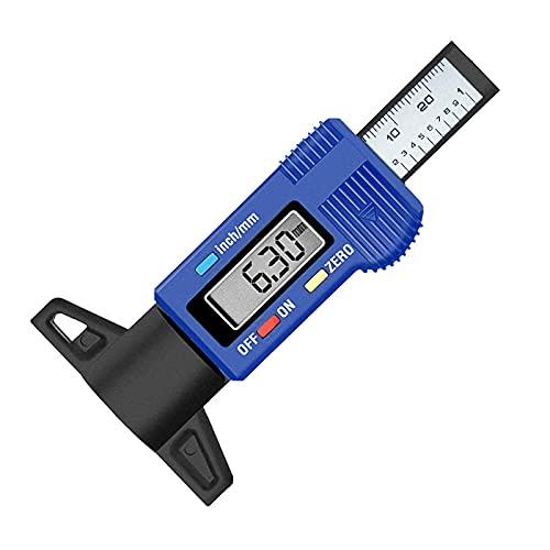 RUIZHI Digital Medidor De Profundidad de los Neumáticos LCD 0-25mm Neumaticos Desgaste Disco Profundidad Medidor para Coches, Furgonetas, Camiones y Motocicleta (Azul)