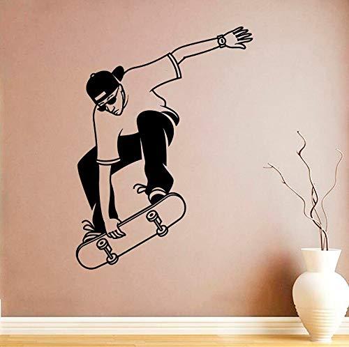 Etiqueta engomada de la pared de la habitación del niño Decoración Cool Boy's Skateboard Wallpaper Decoración del hogar Etiqueta de la pared Papel tapiz Calcomanía A4 45x56cm