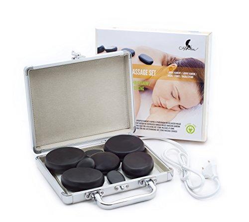 Pietre laviche di massaggio (8 pezzi) in una valigetta per il riscaldamento, un set di pietre per il massaggio del viso, della schiena, delle gambe e di tutto il corpo, spa, benessere e relax