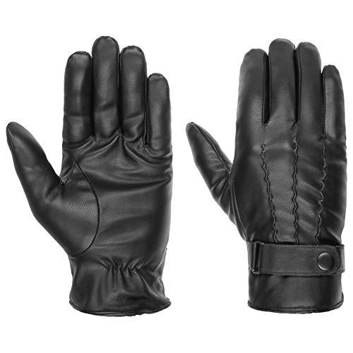 Lipodo Handschuhe Kunstleder mit Teddyfutter Herren - Fingerhandschuhe mit Futter und Touch-Fähigkeit - Kunstlederhandschuhe - Herrenhandschuhe Herbst/Winter schwarz 10 HS
