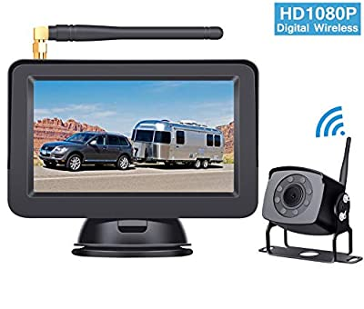 HD 1080P Digital Wireless Backup Camera System for RVs/Trucks/Trailers/Motorhomes with 5''Monitor High-Speed Observation System Night Vision IP 69K Waterproof DIY Guide Lines Continuous/Reverse Use