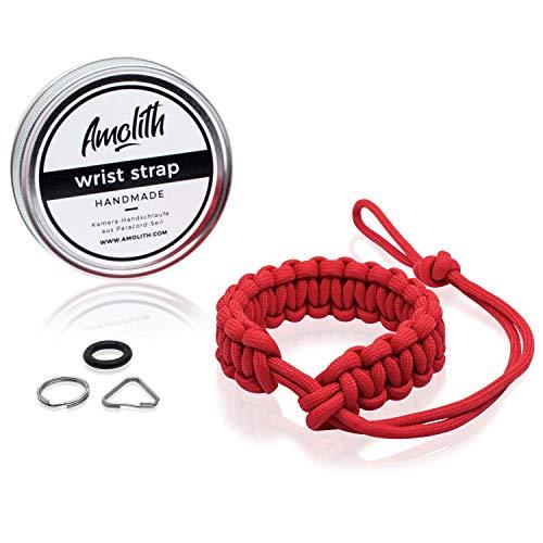 Kamera-Handschlaufe aus Paracord von Amolith® | Farbe: Rot | Flechtmuster: Cobra | Handgelenkschlaufe Kameraschlaufe Kameraband Trageschlaufe | AML-8315