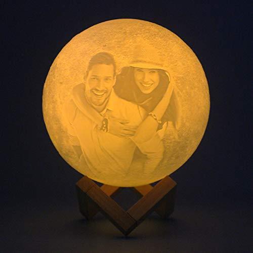Lámpara de luna de cumpleaños impresa en 3D personalizada Luz de noche grabada con foto con soporte Regalo romántico del día de San Valentín 5.9 Regalos de luna nueva 3 colores