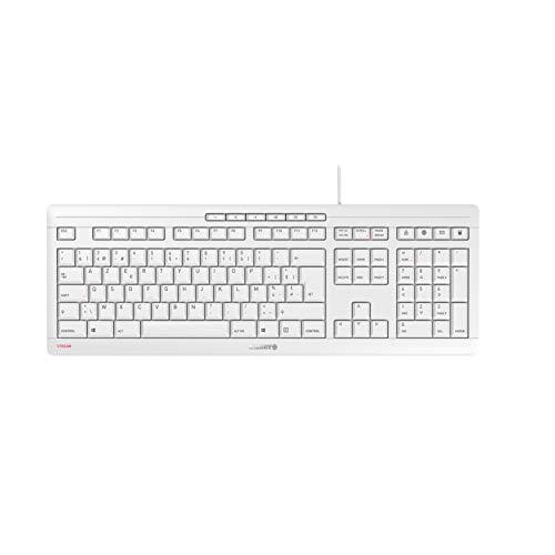 CHERRY Stream Keyboard Toetsenbord, wit/grijs, Belgisch lay-out
