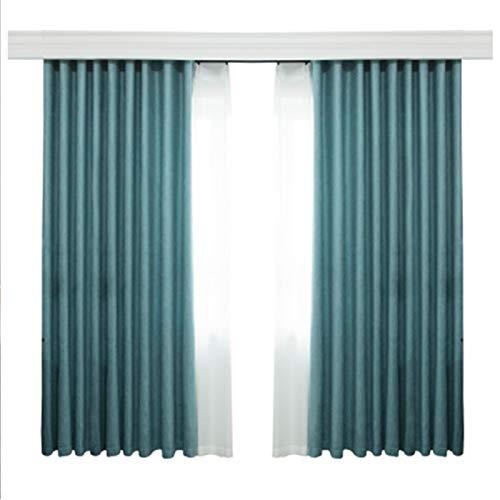 Cortina de franela de color sólido con acabado de dormitorio, aislamiento y reducción de ruido, tela de dos piezas, color verde, 100 x 100 cm