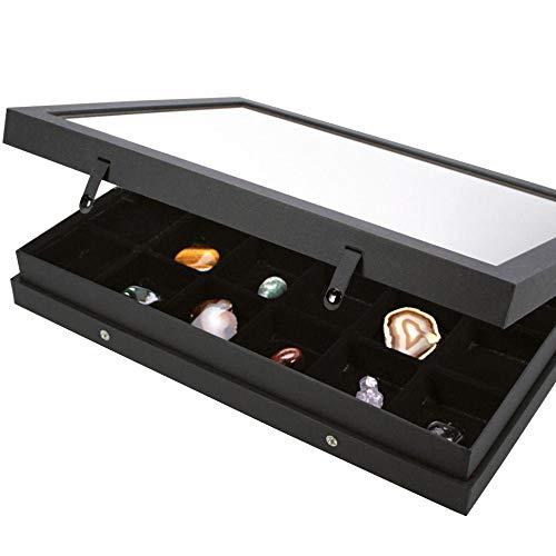 SAFE Premium-Vitrine BLACK-EDITION mit 24 Fächern a 65x58mm für Schmuck,Mineralien,Ü Eier usw. Setzkasten Schaukasten Sortimentskasten