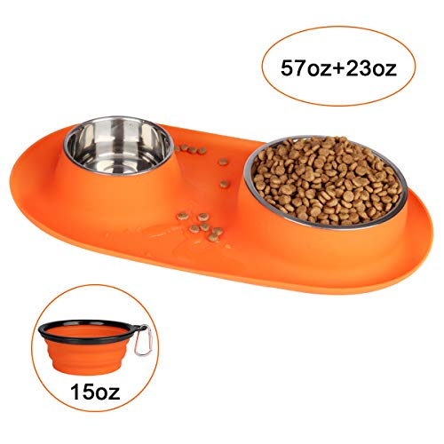 Dog Bowls Stainless Steel, 95 oz, Collapsible Dog Bowl with No Spill Non-Skid Silicone Mat Set,...