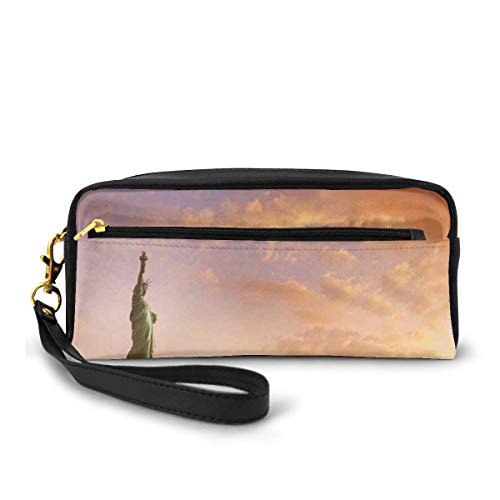 Pencil Case Pen Bag Pouch Stationary,Statue of Liberty Land of Free Home of Brave New York Scenery with Clouds Image,Small Makeup Bag Coin Purse