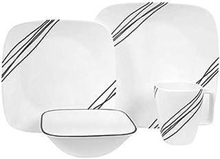 Corelle Square 16-Piece Dinnerware Set, Simple Sketch, Service for 4