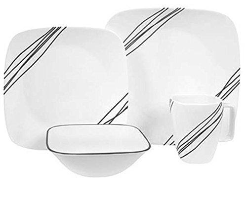 Corelle Geschirr-Set Simple Sketch aus Vitrelle-Glas für 4 Personen 16-teilig, splitter- und bruchfest, schwarz