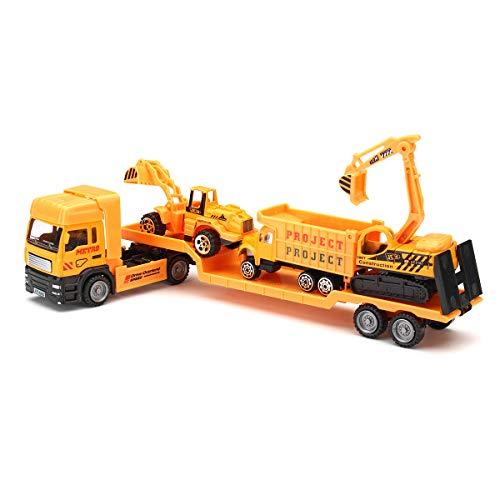 VIDOO 4 In 1 Kinder Spielzeug Bergung Fahrzeug Abschleppwagen LKW Laster Tieflader Diecast Modell Spielzeug BAU Weihnachten