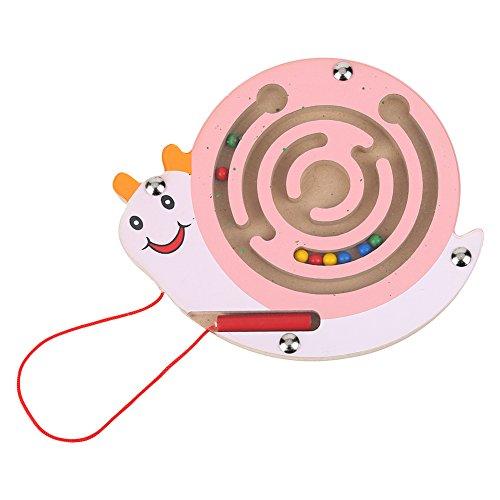 Fdit Puzzle-Spiel-Stift aus Holz, magnetisches Labyrinth, pädagogisches geistiges Spielzeug für Kinder, Geschenk (Schnecke)